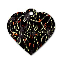 Spiders Background Dog Tag Heart (Two Sides)