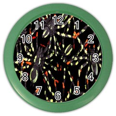Spiders Background Color Wall Clocks