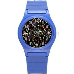 Spiders Background Round Plastic Sport Watch (S)