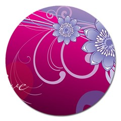 Love Flowers Magnet 5  (Round)