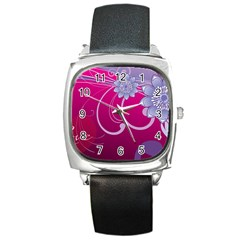 Love Flowers Square Metal Watch