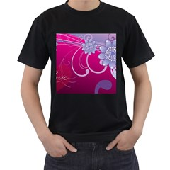 Love Flowers Men s T-Shirt (Black)