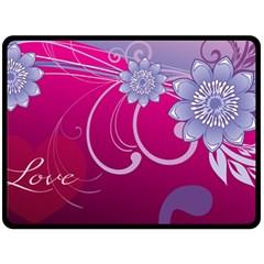 Love Flowers Double Sided Fleece Blanket (Large)