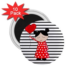 Valentines day girl 2 2.25  Magnets (10 pack)