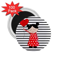 Valentines day girl 2 2.25  Magnets (100 pack)