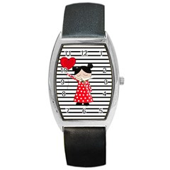 Valentines day girl 2 Barrel Style Metal Watch