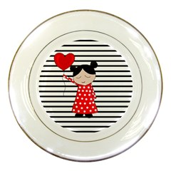 Valentines day girl 2 Porcelain Plates