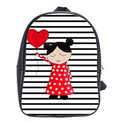 Valentines day girl 2 School Bags(Large)
