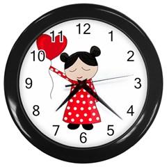 Girl in love Wall Clocks (Black)