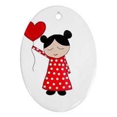 Girl in love Oval Ornament (Two Sides)