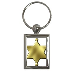 Sheriff Badge Clip Art Key Chains (Rectangle)
