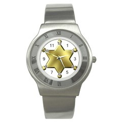 Sheriff Badge Clip Art Stainless Steel Watch