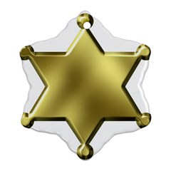 Sheriff Badge Clip Art Snowflake Ornament (Two Sides)