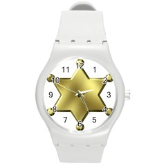 Sheriff Badge Clip Art Round Plastic Sport Watch (M)