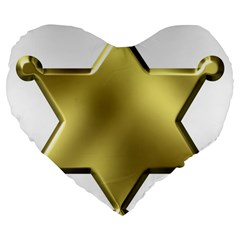 Sheriff Badge Clip Art Large 19  Premium Flano Heart Shape Cushions
