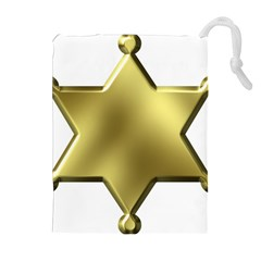 Sheriff Badge Clip Art Drawstring Pouches (extra Large)