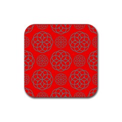 Geometric Circles Seamless Pattern Rubber Square Coaster (4 pack)