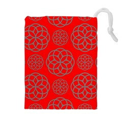 Geometric Circles Seamless Pattern Drawstring Pouches (Extra Large)