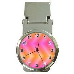 Pattern Background Pink Orange Money Clip Watches