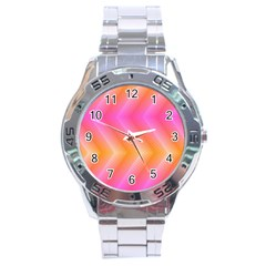 Pattern Background Pink Orange Stainless Steel Analogue Watch