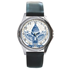 Presidential Inauguration USA Republican President Trump Pence 2017 Logo Round Metal Watch