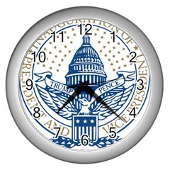 Presidential Inauguration USA Republican President Trump Pence 2017 Logo Wall Clocks (Silver)