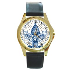 Presidential Inauguration USA Republican President Trump Pence 2017 Logo Round Gold Metal Watch