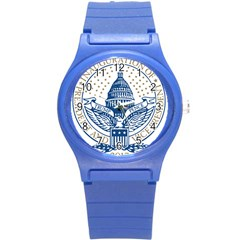 Presidential Inauguration USA Republican President Trump Pence 2017 Logo Round Plastic Sport Watch (S)