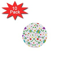 Cute butterflies and flowers pattern 1  Mini Buttons (10 pack)