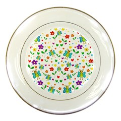 Cute butterflies and flowers pattern Porcelain Plates
