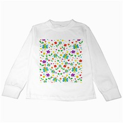 Cute butterflies and flowers pattern Kids Long Sleeve T-Shirts
