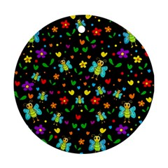 Butterflies and flowers pattern Ornament (Round)