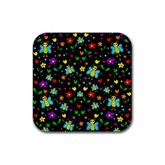 Butterflies and flowers pattern Rubber Coaster (Square)
