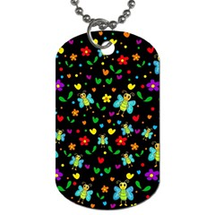 Butterflies and flowers pattern Dog Tag (Two Sides)