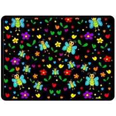 Butterflies and flowers pattern Fleece Blanket (Large)