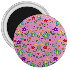 Cute butterflies and flowers pattern - pink 3  Magnets