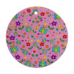 Cute butterflies and flowers pattern - pink Ornament (Round)
