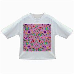 Cute butterflies and flowers pattern - pink Infant/Toddler T-Shirts