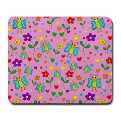 Cute butterflies and flowers pattern - pink Large Mousepads