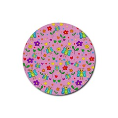 Cute butterflies and flowers pattern - pink Rubber Coaster (Round)