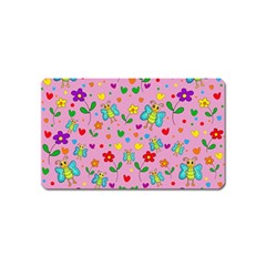 Cute butterflies and flowers pattern - pink Magnet (Name Card)