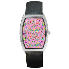 Cute butterflies and flowers pattern - pink Barrel Style Metal Watch
