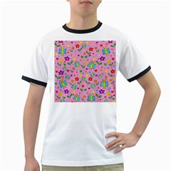 Cute butterflies and flowers pattern - pink Ringer T-Shirts