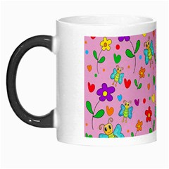 Cute butterflies and flowers pattern - pink Morph Mugs