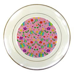 Cute Butterflies And Flowers Pattern   Pink Porcelain Plates