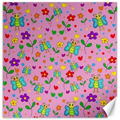 Cute butterflies and flowers pattern - pink Canvas 20  x 20