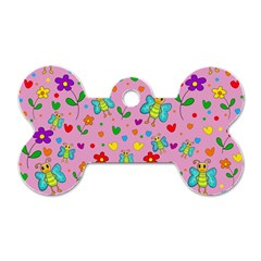 Cute butterflies and flowers pattern - pink Dog Tag Bone (One Side)