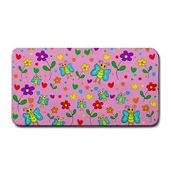 Cute butterflies and flowers pattern - pink Medium Bar Mats