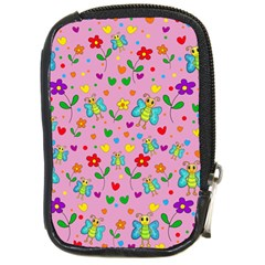 Cute butterflies and flowers pattern - pink Compact Camera Cases