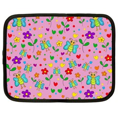 Cute butterflies and flowers pattern - pink Netbook Case (XXL)